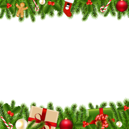 Merry Christmas Borders With Gradient Mesh, Vector Illustration 版權商用圖片 - 48542479