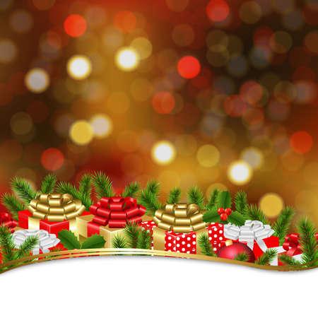furtree: Holiday Xmas Gift Border With Gradient Mesh, Vector Illustration