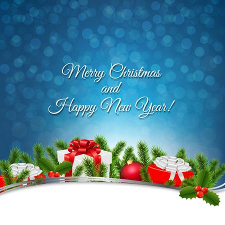furtree: Blue Christmas Retro Postcard With Gradient Mesh, Vector Illustration