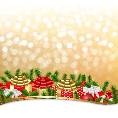 furtree: Golden Xmas Gift Border With Gradient Mesh, Vector Illustration