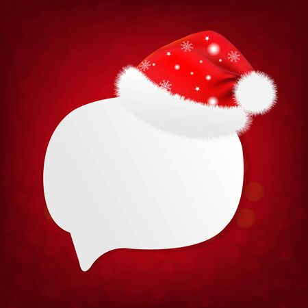 santa cap: Merry Christmas Banner With Santa Claus Cap With Gradient Mesh, Vector Illustration