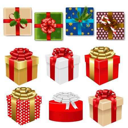 cajas navideñas: Caja de regalo de colores Conjunto con malla de degradado, ilustración vectorial Vectores