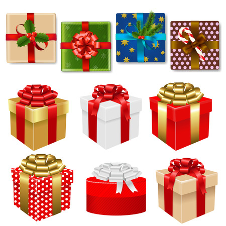 in christmas box: Colorful Gift Box Set With Gradient Mesh, Vector Illustration