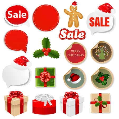 holly day: Big Sale Set Speech Banners And Stickers With Gradient Mesh, Vector Illustration Illustration