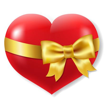 heart symbol: Red Heart Symbol With Gradient Mesh, Vector Illustration