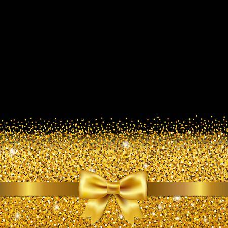 golden ribbon: Golden Glitter Postcard With Gradient Mesh, Vector Illustration
