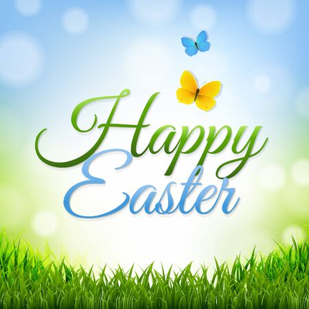 grass border: Easter Background With Grass Border With Gradient Mesh, Vector Illustration