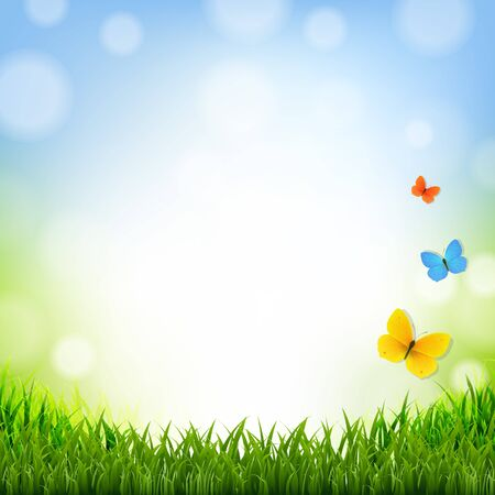 grass border: Easter Poster With Grass Border With Gradient Mesh, Vector Illustration Illustration