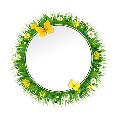 Bannière d'été avec l'herbe et de fleurs avec un filet de dégradé, vecteur Illustration Vecteurs