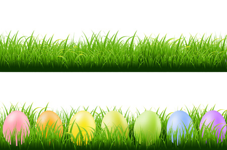 panoramic nature: Grass Borders With Easter Eggs With Gradient Mesh, Vector Illustration