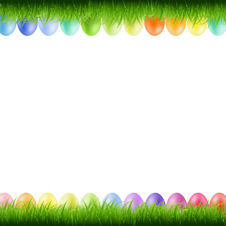 border: Grass Borders With Easter Eggs With Gradient Mesh, Vector Illustration