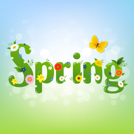 Spring Banner With Gradient Mesh, Vector Illustration