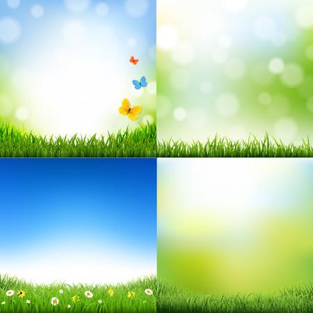 gradient mesh: Landscaps Set With Gradient Mesh, Vector Illustration