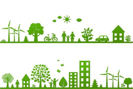 reciclar: Borders Eco con malla de degradado, ilustración vectorial Vectores