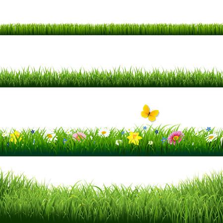 Grass Borders Set With Gradient Mesh Vettoriali