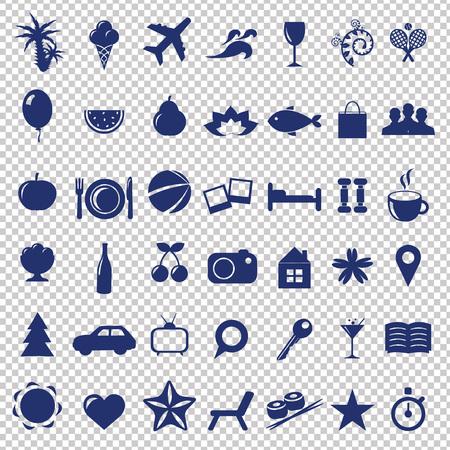 Vacances ensemble de signes, isolé sur fond transparent, Illustration vectorielle