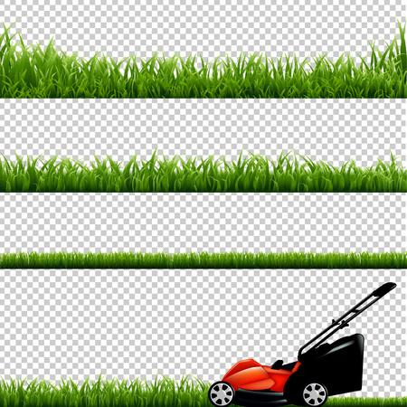 Cortadora de césped con la hierba verde, aislado en el fondo transparente, con malla de degradado, ilustración vectorial