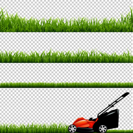 Lawnmower With Green Grass, Isolated on Transparent Background, With Gradient Mesh, Vector Illustration Çizim