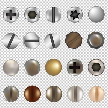 Bolts And Screws Big Set, Isolated on Transparent Background, With Gradient Mesh, Vector Illustration