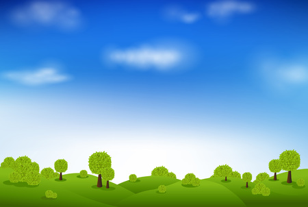 pastoral: Green Landscape And Blue Sky, With Gradient Mesh, Vector Illustration