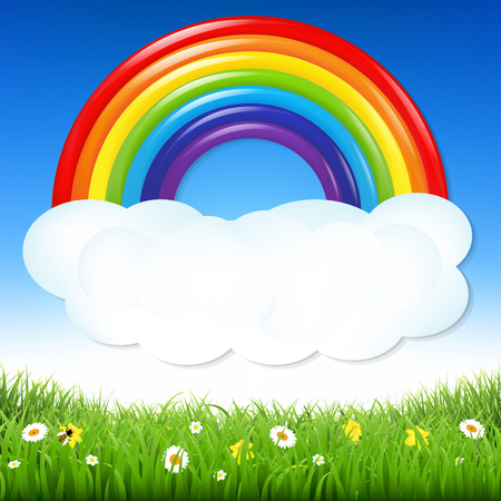sky cloud: Nature Background With Grass And Rainbow With Gradient Mesh, Vector Illustration