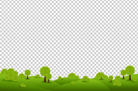 scenics: Green Landscape, Isolated on Transparent Background, Vector Illustration