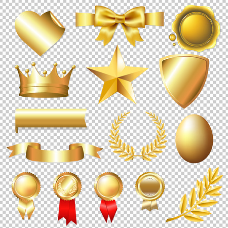 Golden Collection, Isolated on Transparent Background, With Gradient Mesh, Vector Illustration