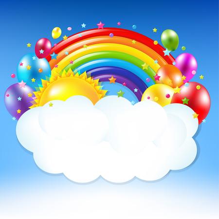 De gelukkige Banner van de Verjaardag Met Regenboog met verloopnet, Vector Illustratie