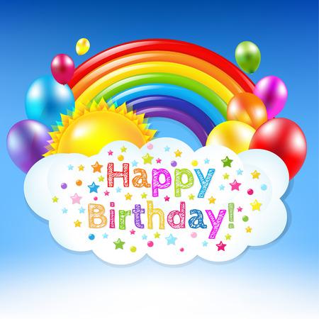 De gelukkige Banner van de Verjaardag Met Regenboog met verloopnet, Vector Illustratie Vector Illustratie