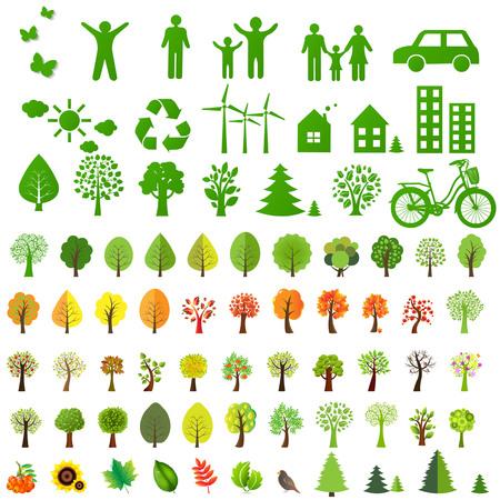 tree leaves: Big Eco Icons Set And Eco Symbol, Vector Illustration
