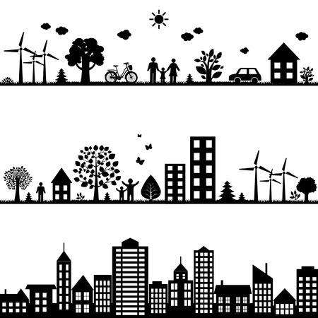 turbina: Las ciudades negro paisaje, ilustración vectorial