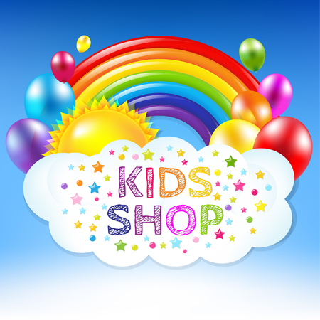 childrens birthday party: Happy Birthday Banner With Rainbow With Gradient Mesh, Vector Illustration