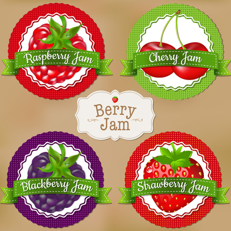 raspberry: Berry Labels With Gradient Mesh, Vector Illustration