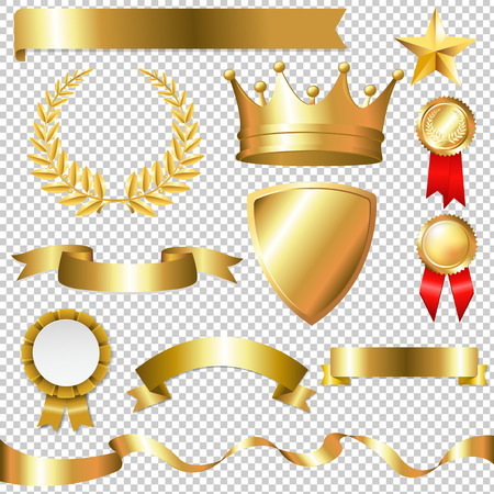 Golden Collection Isolated, Isolated on Transparent Background, With Gradient Mesh, Vector Illustration