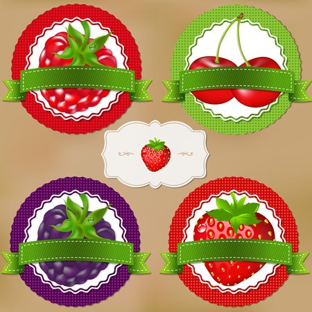 berry: Berry Labels With Gradient Mesh, Vector Illustration