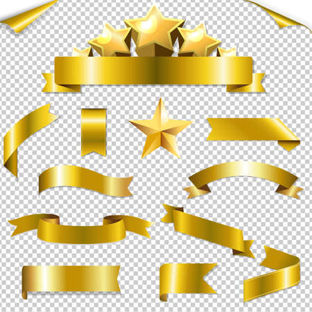 golden ribbons: Set Golden Ribbons And Stars, With Gradient Mesh, Vector Illustration