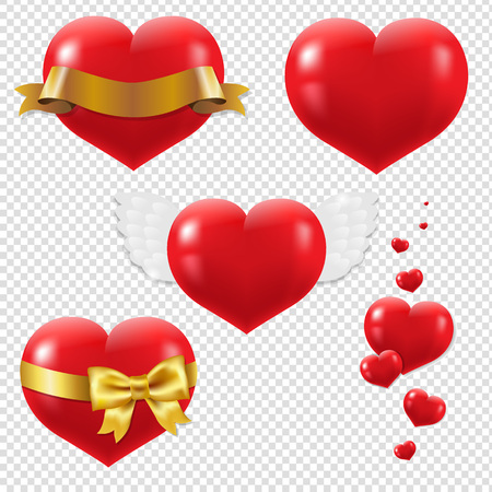 hearts background: Red Hearts Symbols Set Isolated, Isolated on Transparent Background, With Gradient Mesh, Vector Illustration