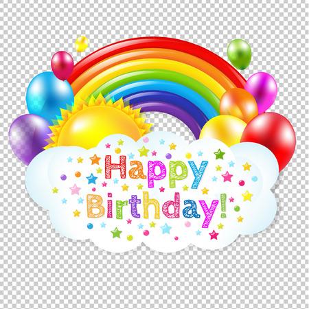 Feliz Cumpleaños Banner con el arco iris aislado, aislado en el fondo transparente, con malla de degradado, ilustración vectorial Foto de archivo - 57247690