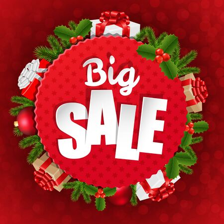 furtree: Big Xmas Sale Poster With Gradient Mesh, Vector Illustration