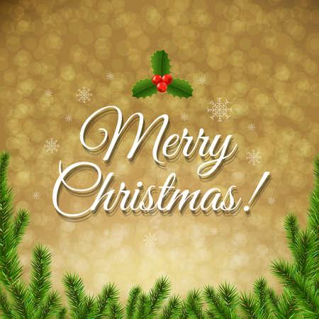 furtree: Christmas Golden Bokeh With Gradient Mesh, Vector Illustration
