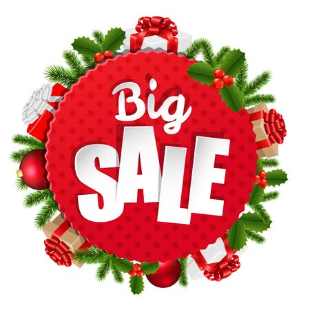 sell: Xmas Sale Banner With Gradient Mesh, Vector Illustration