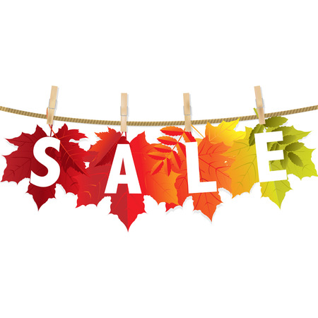 wind down: Autumn Sale Leaf With Gradient Mesh, Vector Illustration
