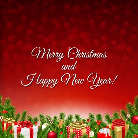 furtree: Christmas Petro Postcard With Gradient Mesh, Vector Illustration Illustration