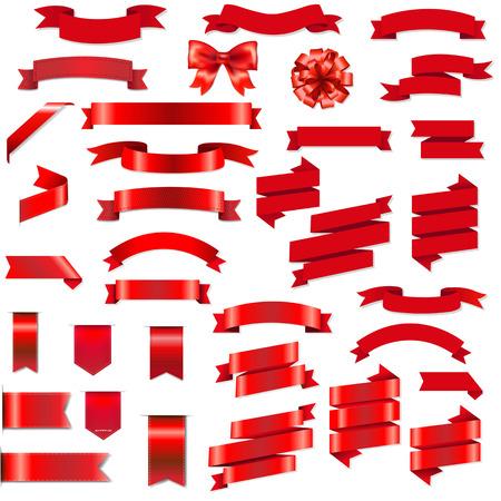 Cintas rojas y arco conjunto con gradiente de malla, ilustración vectorial