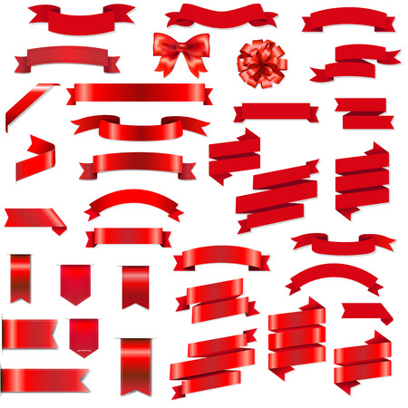 Red Ribbons And Bow Set With Gradient Mesh, Vector Illustration