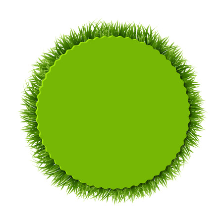 Label With Grass, Vector Illustration
