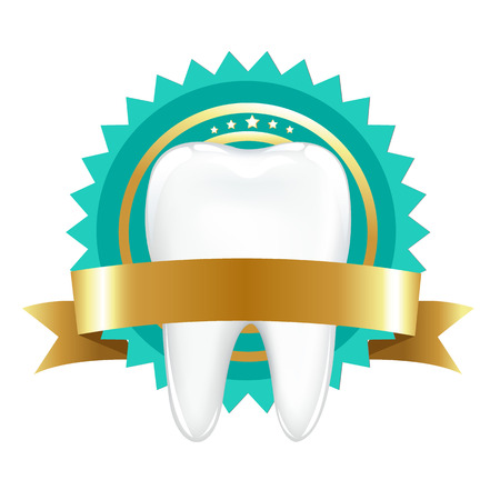 stomatology icon: Tooth With Label With Gradient Mesh, Vector Illustration