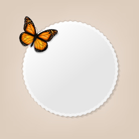 Label With Butterfly, Vector Illustration