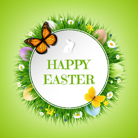camomiles macro: Happy Easter Postcard With Gradient Mesh, Vector Illustration