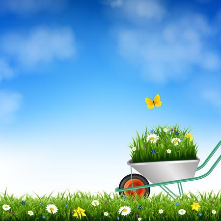 Garden Wheelbarrow And Grass With Gradient Mesh, Vector Illustration